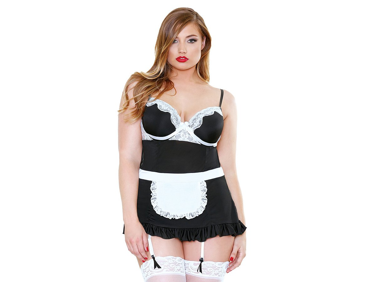 plus size french maid roleplay fantasy babydoll lingerie