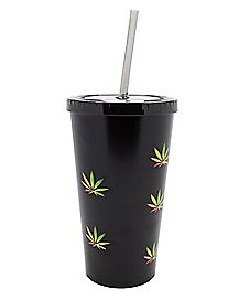 Matte Rasta Weed Leaf Cup With Straw - 16 oz.