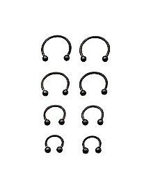 16 Gauge Black Horseshoe Ring 8 Pack