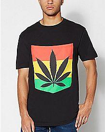 Large Pocket Rasta Weed Leaf T shirt