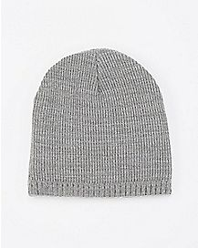 Grey Marled Ribbed Beanie Hat