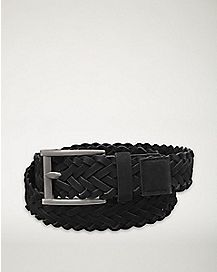 Black Braided Suede Belt