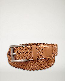 Brown Braided Suede Belt