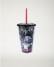 Haha Group Shot Suicide Squad Cup With Straw 16 oz. - DC Comics