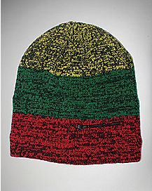 Rasta Striped Beanie Hat