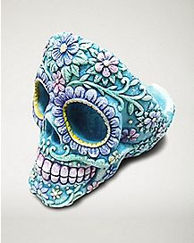 Sugar Skull Head Ashtray -  Blue
