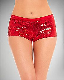 Sequin Boyshort Panties - Red