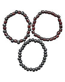 Burgundy Beaded Bracelet 3 Pack