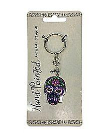Handpainted Sugar Skull Key Chain Purple