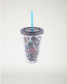 Glow Poster Art Suicide Squad Cup With Straw 16 oz. - DC Comics