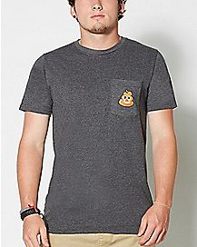 Smiley Poop Face Pocket Emoji T shirt