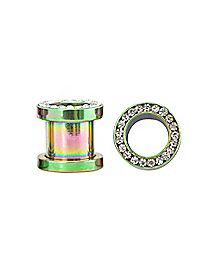 Rainbow CZ Stone Tunnel Plugs