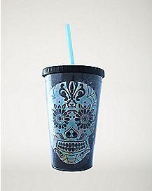 Sugar Skull Cup with Straw - 16 oz.