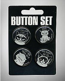 Angry Cat Buttons - 4 Pack