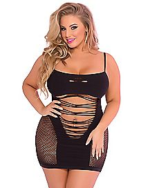 Plus Size Seamless Net Dress