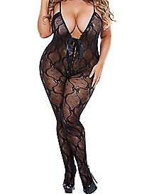 Hustler Plus Size Lace Up Bow Body Stocking