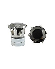 CZ Hexagon Magnetic Fake Stud Earrings