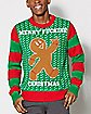 Light Up Gingerbread Man Ugly Christmas Sweater