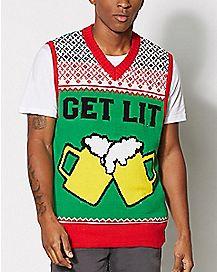 Get Lit Beer Light Up Ugly Christmas Vest