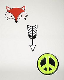 Fox, Arrow, Peace Sign Pin Set