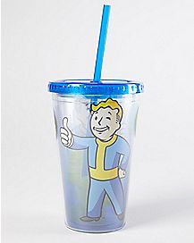 Fallout Valut Boy Cup With Straw And Ice Cubes - 16 oz.