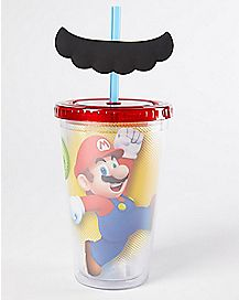 Mustache Super Mario Cup With Straw - 16 oz.