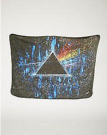 Dark Side of the Moon Pink Floyd Gray Fleece Blanket