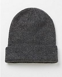 Marled Slouchy Beanie Hat - Grey