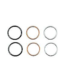 Colored Seamless Captive Ring - 3 Pair