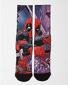 Deadpool Split Sublimated Crew Sock - Marvel Comics