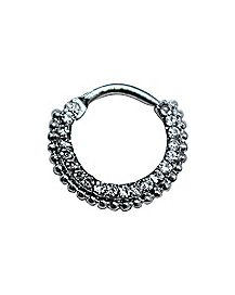 Ornate CZ Cartilage Clicker Ring -16 Gauge