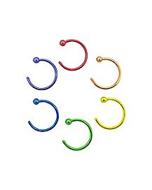 Rainbow Hoop Nose Rings 6 Pack - 20 Gauge
