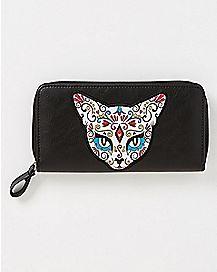 Sugar Skull Cat Zip Wallet