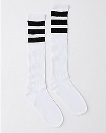 Black and White Stripe Knee High Socks