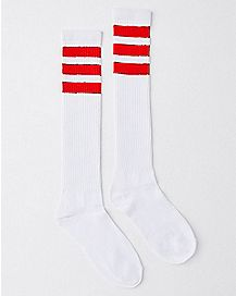 White and Red Stripe Knee High Socks