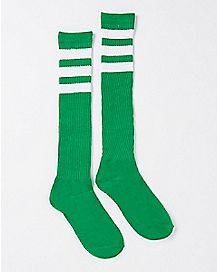 Green and White Stripe Knee High Socks