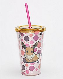 Spots Pokemon Eevee Cup With Straw - 16 oz.