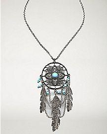 Blue Stone Dream Catcher Necklace