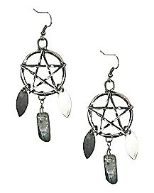 Pentagram Dream Catcher Earrings