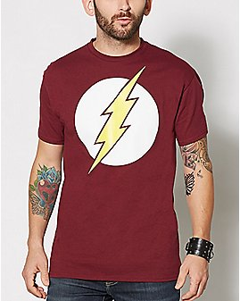 Burgundy Logo Flash T - DC ComicsShirt