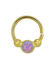 Pink Stone Reversible Seamless  Septum Nose Ring - 16 Gauge