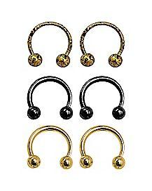 Goldtone and Black Horseshoe Rings - 18 Gauge