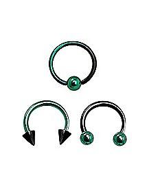 Green and Black Septum Rings 3 Pack - 16 Gauge