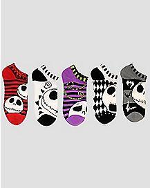 Jack Skellington No Show Ankle Socks 5 Pack