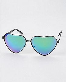 Blue Heart Metal Sunglasses