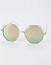 Pink Hexagon Metal Sunglasses