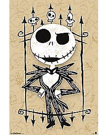 Jack Skellington Cartoon Art Poster - The Nightmare Before Christmas