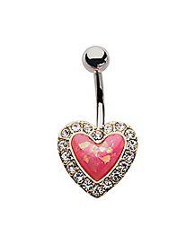 Pink Heart Belly Ring - 14 Gauge