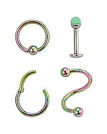 Green Opal-Effect Lip Ring 4 Pack - 16 Gauge
