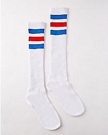 Red and Blue Striped Knee High Socks